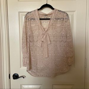 Lily White Cream Lace Blouse with Bow Necktie